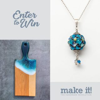 "🤩 G I V E A W A Y 🤩⁠ ⁠ I am so excited to be collaborating with Make It and  JMP Flow+Design to bring you an amazing giveaway with $155 worth of goodies!⁠ ⁠⠀⁠⠀⁠ WHAT'S INCLUDED:⁠⠀⁠ 🌟 Silver enhanced glass bead necklace ($70)⁠ ⁠ This beautiful 20mm bead has been accessorized with pretty silver bead caps and small complimentary crystals, and hangs nicely from an 18"" sterling silver chain.⁠ ⁠ 🌟 Resin serving board ($85)⁠ ⁠ Bring the ocean home with this resin serving board poured to look like water in translucent aquas and blue highlights. Featuring maple wood, the resin is food safe, scratch and heat resistant. ⁠ ⁠⠀⁠⠀⁠ Head over to @makeitshow to see how you can enter to win!⁠ ⁠ Giveaway ends on May 21st at 11AM PST - open to Canadian residents only. Winners will be selected at random and contacted by @makeitshow directly. This promotion is in no way sponsored, endorsed, or associated with Instagram. Good luck! ✨⁠"