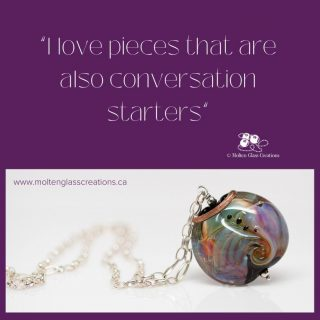 I love pieces that are also conversation starters. This beautiful large bead is definitely a conversation starter.  I would wear it with a warm fuzzy sweater!  #handmade #glassbeads #lampwork #jewelry #unique #oneofakind #statement #giftideas